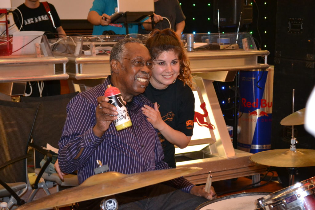 Stubblefield recieves award from Katrina Flores of Breakin' the Law International Urban Dance Conference in 2012.