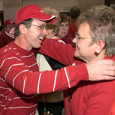 Photo of Paula Bonner hugging Mike Knetter.