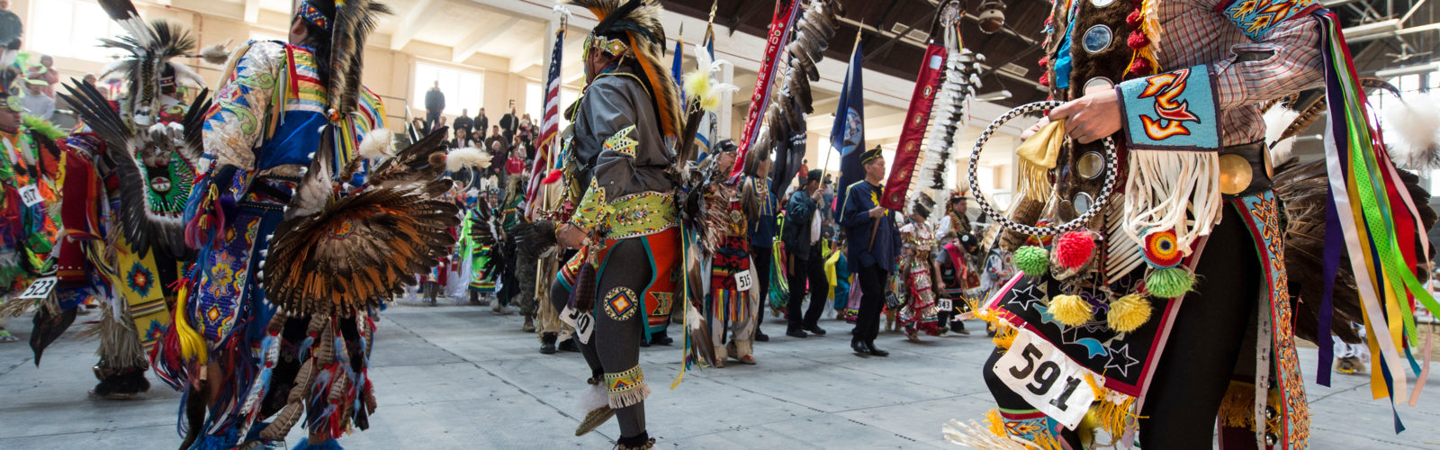 Members from numerous Native American tribes participate in a grand
