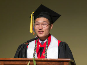 DDEEA Graduation Chancellor's Scholar/Power-Knapp Speaker Charlie Thao. May 12, 2017. (Photo © Andy Manis)