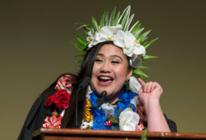 DDEEA Graduation First Wave Speaker Gretchen Carvajal. May 12, 2017. (Photo © Andy Manis)