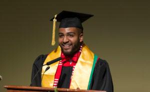 DDEEA Graduation Posse Speaker Chazz Bracey. May 12, 2017. (Photo © Andy Manis)