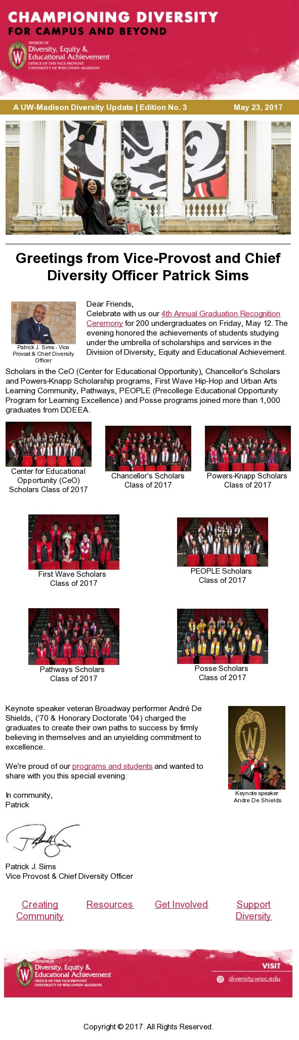 Championing Diversity (Division of Diversity Equity and Educational Achievement Newsletter) snap shot static image