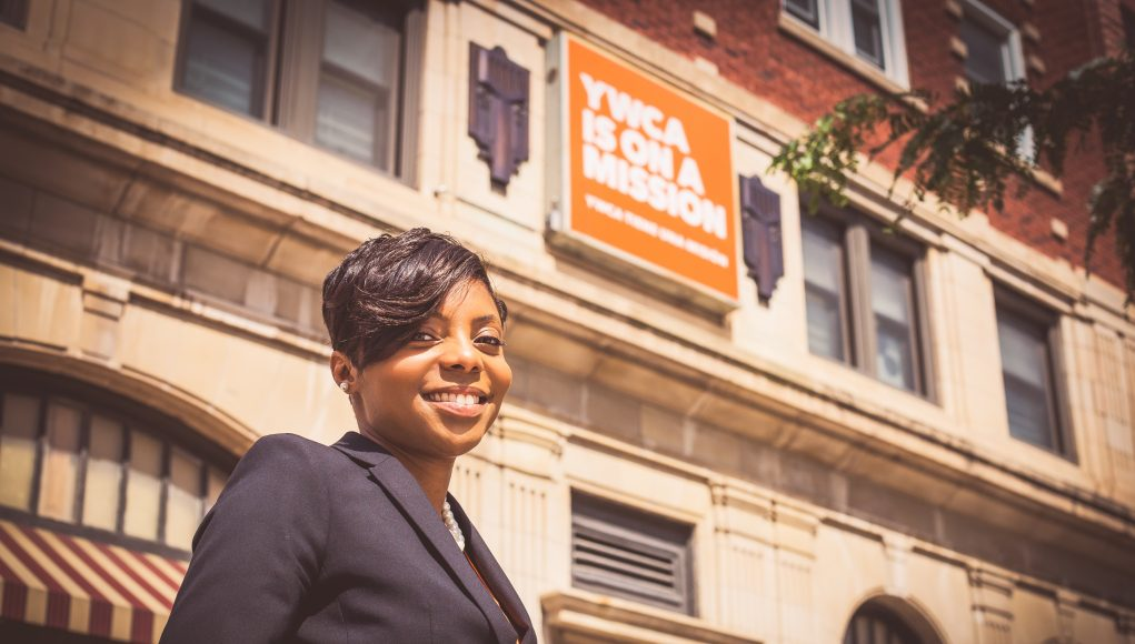 Vanessa McDowell pictured outside the YWCA Building on the Square. Photo by Madison365.