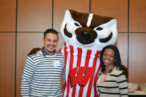Badger Alumni greet Bucky at the Homecoming 2015 Gospel Brunch.