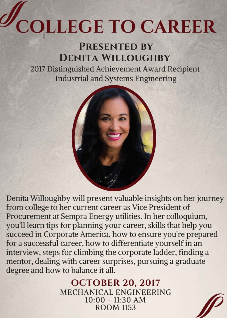 Denita Willoughby,  alumna of UW College of Engineering- Industrial and Systems Engineering