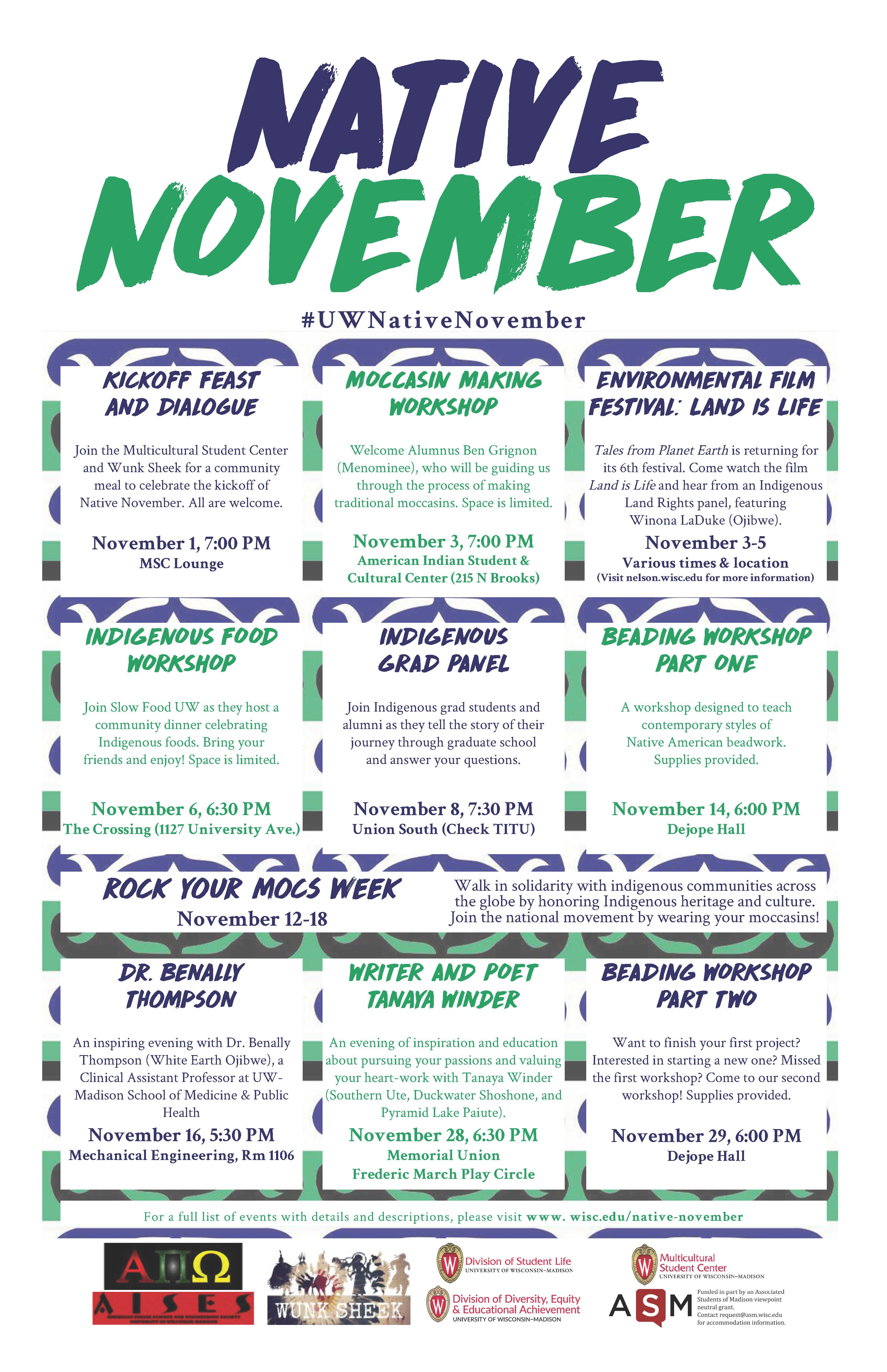 Native November calendar