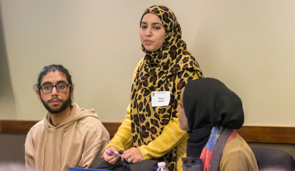 "Maria Ahmad leads the discussion ""Supporting American Muslim Students in 2017"" breakout discussion, Diversity Forum 2017 Nov. 7, 2017. (Photo © Andy Manis)"
