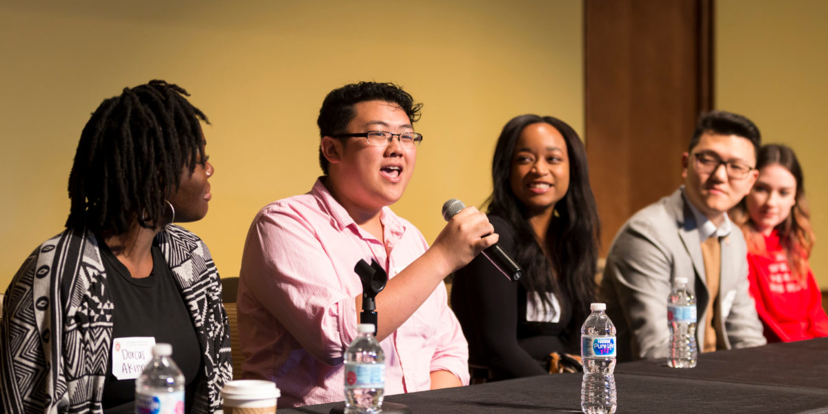 Student Panel discusses campus climate challenges and how to develop coping skills at the 2017 Diversity Forum.