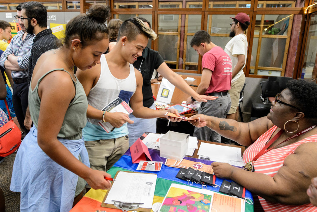 Undergraduates participate in the Way Up Multicultural Organization Festival held in the Red Gym at the University of Wisconsin-Madison on Sept. 6, 2016. The Wisconsin Welcome event provided students with the opportunity to discover a wide variety of multicultural student organizations including the LGBT Campus Center. (Photo by Bryce Richter / UW-Madison)