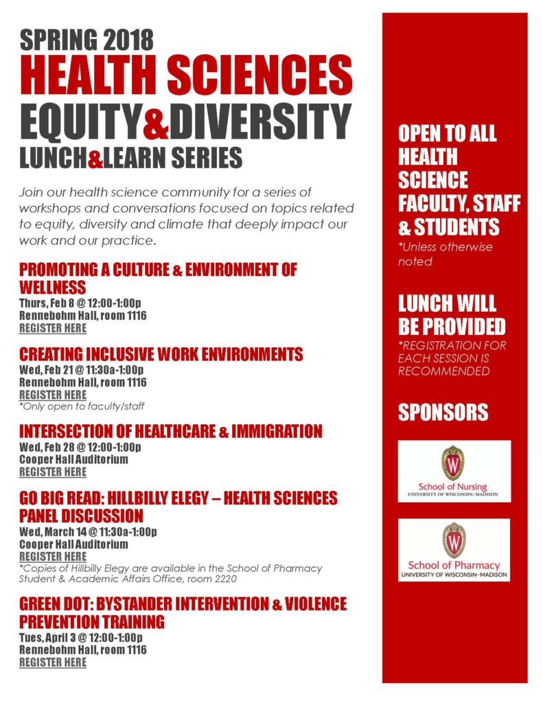 Health Sciences Equity and DIversity Luncheon Series flyer
