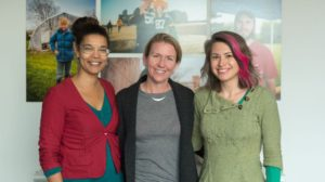 Annette Miller (left) with Jet Waller and Megan Monday of Love Wisconsin