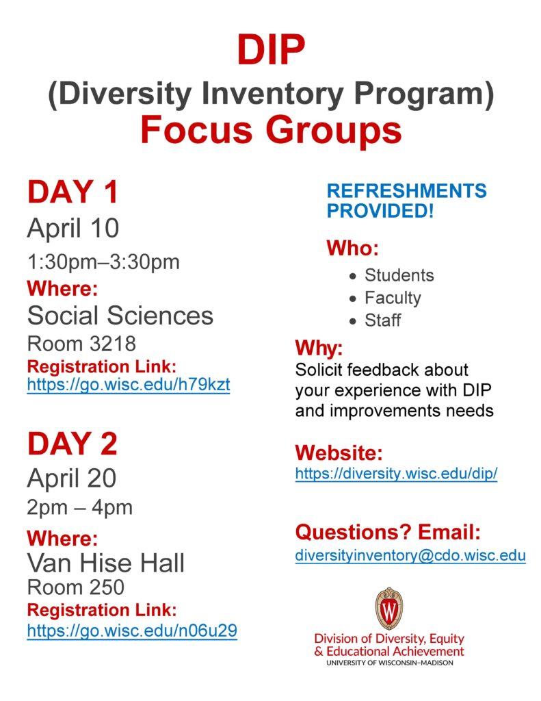 DIP Focus meetings poster
