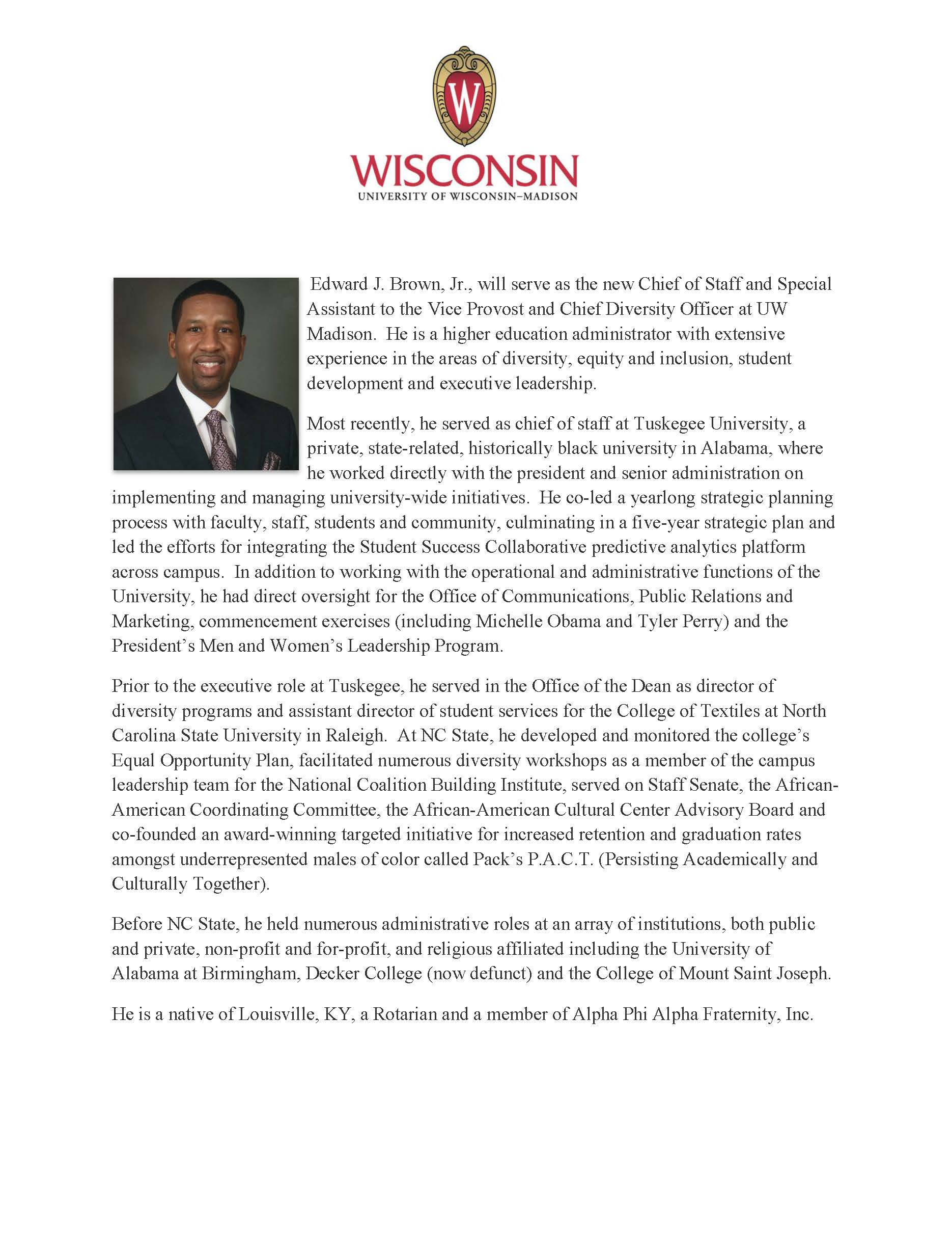 Announcement of hiring Edward Brown as CDO Special Assistant