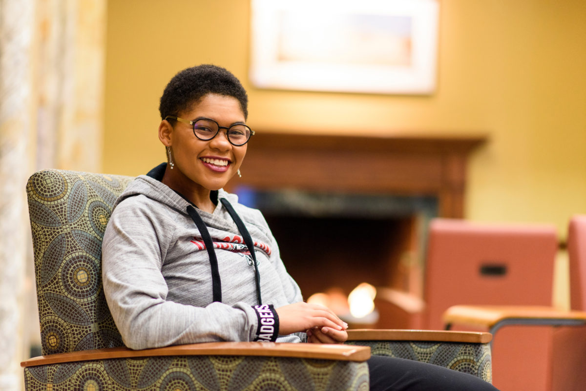 Jamie Dawson will be the student speaker during winter commencement on Dec. 16 at the Kohl Center. A member of the First Wave program, she will be receiving a Bachelor of Arts degree with majors in Afro-American studies and psychology. PHOTO: BRYCE RICHTER