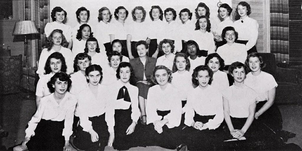 The residents of Langdon Manor, a housing group for female artists and writers, ca. 1949. Before Lorraine Hansberry (third row) could move in, she had to come to dinner with the current residents, who would then vote on whether she could live with them. The vote was unanimous in her favor. UW ARCHIVES
