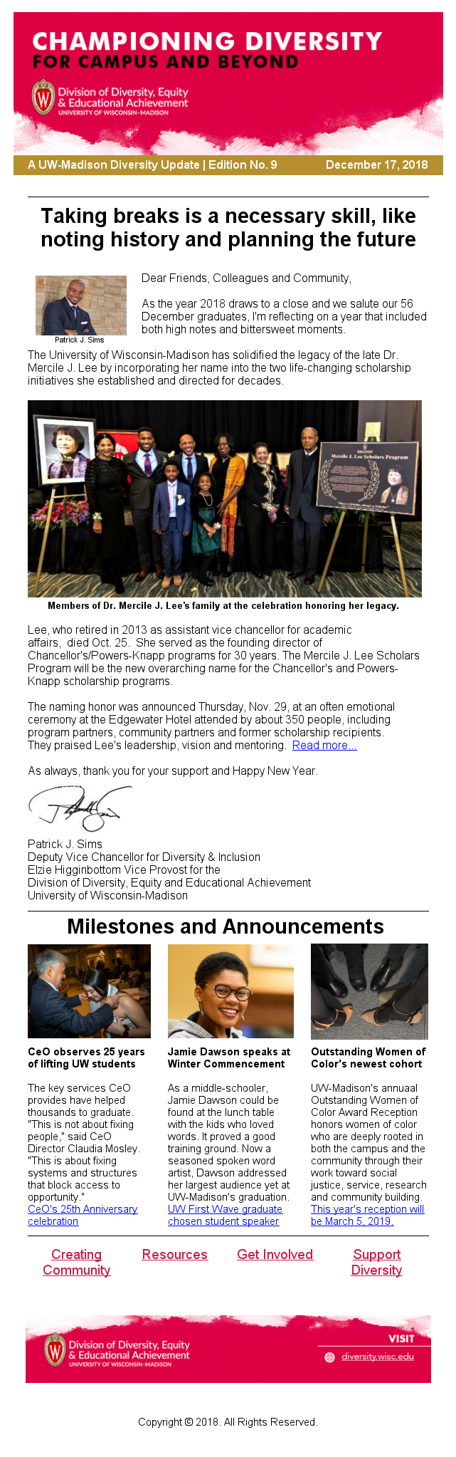 A screenshot example of a newsletter email.