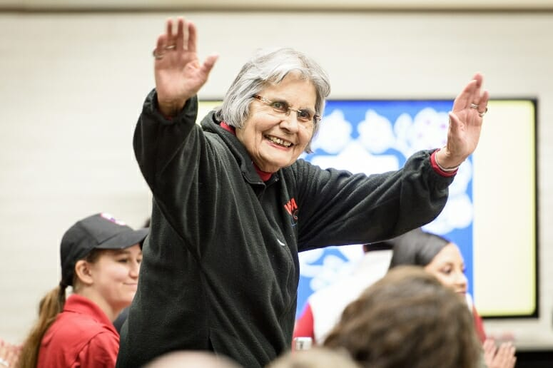 Ada Deer, a champion of Native American rights and the first participant in the new UW–Madison Elder-In-Residence Program, greets the audience at a November event. PHOTO: BRYCE RICHTER