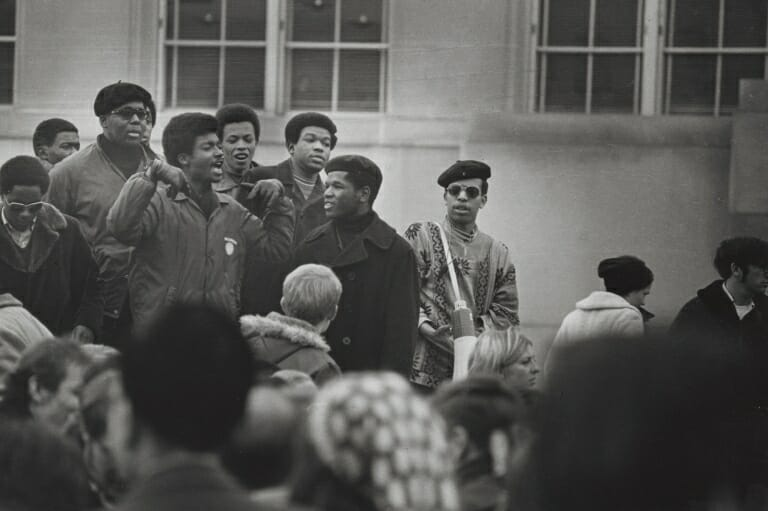 Some of the leaders of the Black Student Strike of 1969 gather to speak at a rally. UW-MADISON ARCHIVES