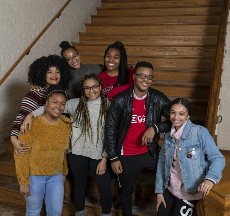 Ten UW–Madison student journalists conducted a majority of the interviews for the oral history of the Black Student Strike of 1969. Back row from left, Breanna Taylor, Shiloah Coley, Enjoyiana Nururdin; front row from left, Alexandria Millet, Summer Mitchell, Nile Lansana, Chelsea Hylton. Not pictured: Fatoumata Ceesay, Trinity Cross, Kingsley Pissang. PHOTO BY ANDY MANIS