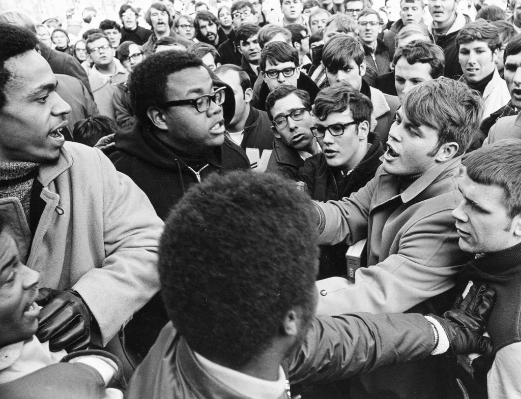 An altercation during University of Wisconsin student protests in support of the school's African-American community, February 12, 1969. ***research, add background. Blog post***