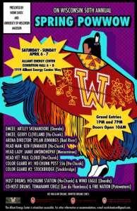 Poster graphic with information about the 2019 On Wisconsin Spring Powwow. Details below.