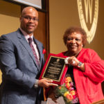 Dr. Gloria Hawkins receives a plaque honoring her 41 years on the UW-Madison campus from Patrick J.SIms, Deputy Vice Chancellor for Diversity & Inclusion. Photo by Amadou Kromah.