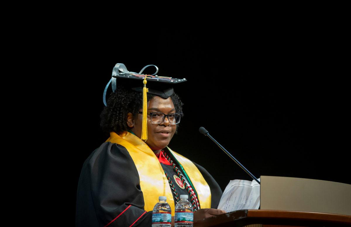 Graduate Stefani Henry speaks at the DDEEA Graduation at Shannon Hall May 10, 2019.