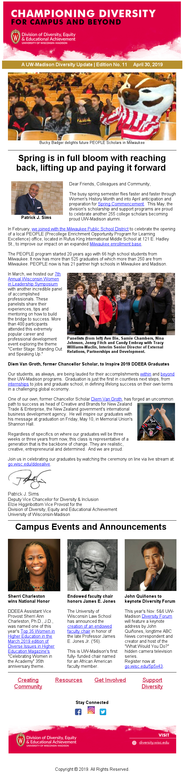 A screenshot of one of the DDEEA email newsletters.