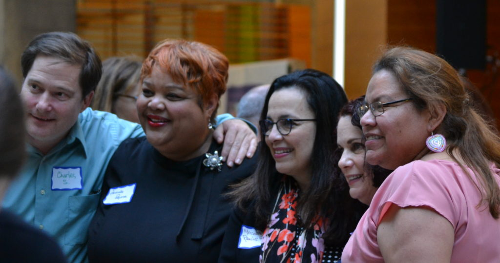 "LI 20th Anniversary participants from left, Charles Schleicher, Pamela Payne, Mercedes Ramirez Fernandes, Belinda Velazquez<span style=""color: #ff0000;""></span>and Adrienne Thunder."