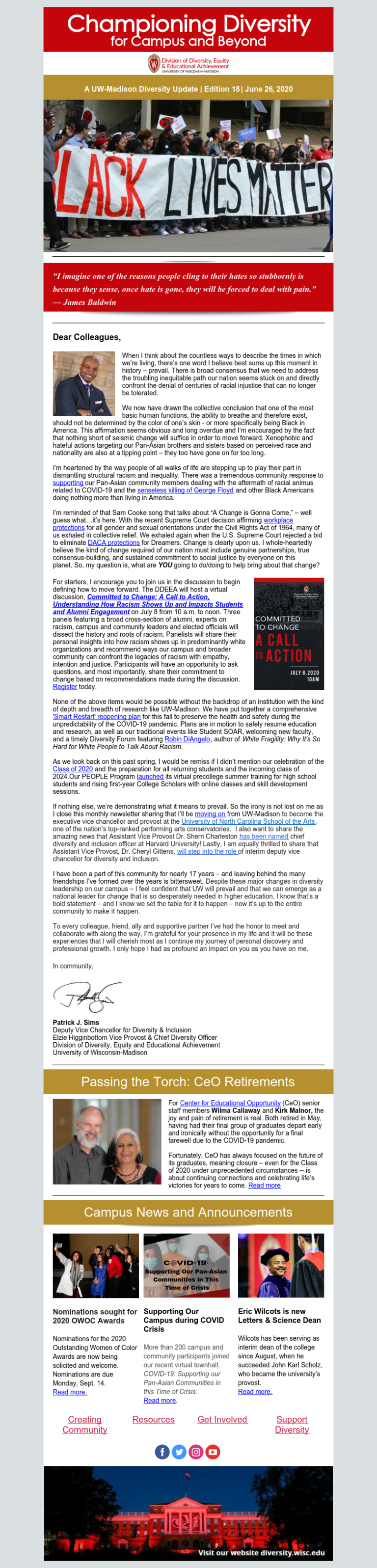 Example of the DDEEA email newsletter. The list of emails contains links to read accessible versions of the newsletters.