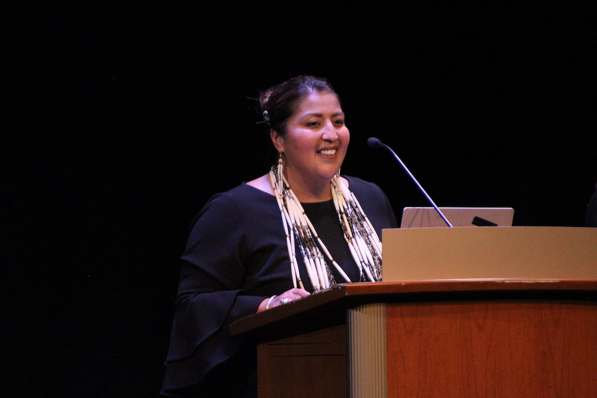 Samantha Skenandore, a former associate justice for the Ho-Chunk Nation Supreme Court, spoke to about 1,000 people at Shannon Hall in Memorial Union as part of the Wisconsin Union Directorate's Distinguished Lecture Series. PHOTO BY AMANDA HALZEL