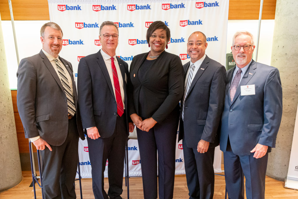 U.S. Bank sponsors Matthew Moore, District Manager; Stuart Westen, District Manager; Julian Berry, Business Banking Officer; Dan Frazier, President U.S. Bank Madison and center, Tracy Williams Maclin, Senior Director of External Relations, Partnerships and Development. Photo by Amadou Kromah.