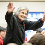 Ada Deer, a champion of Native American rights and the first participant in the new UW–Madison Elder-In-Residence Program, greets the attendees in November 2018. PHOTO: BRYCE RICHTER