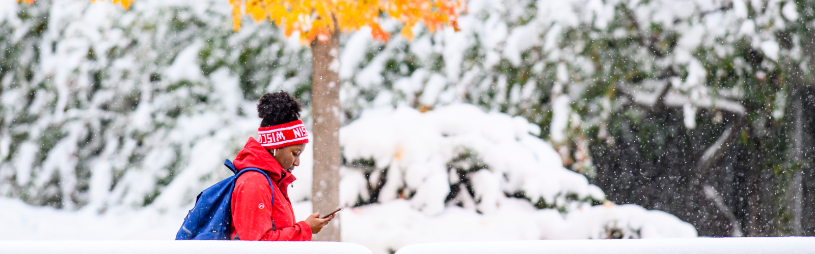 A woman in a bright red coat looks at her phone while walking through a snowy landscape with yellow leaves on a tree in the background.
