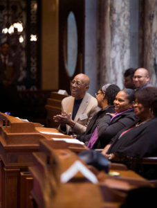 Pulliam and students in the Capitol Chambers