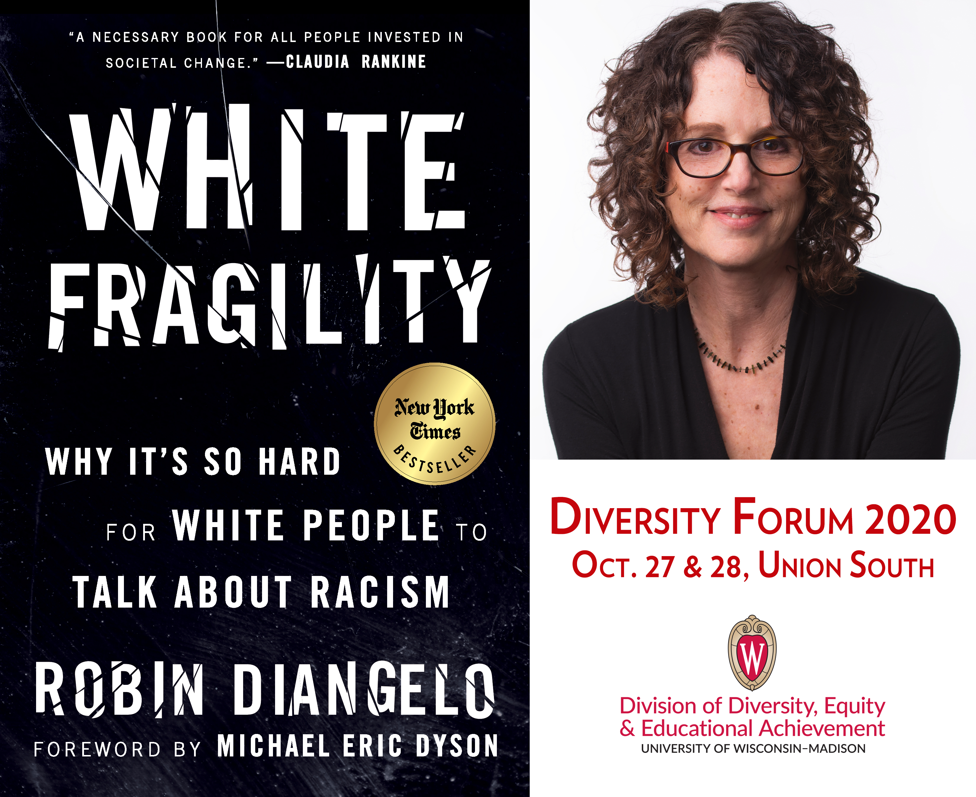 """graphic featuring the book cover for """"White Fragility"""" along with a headshot of the author, Robin DiAngelo"""