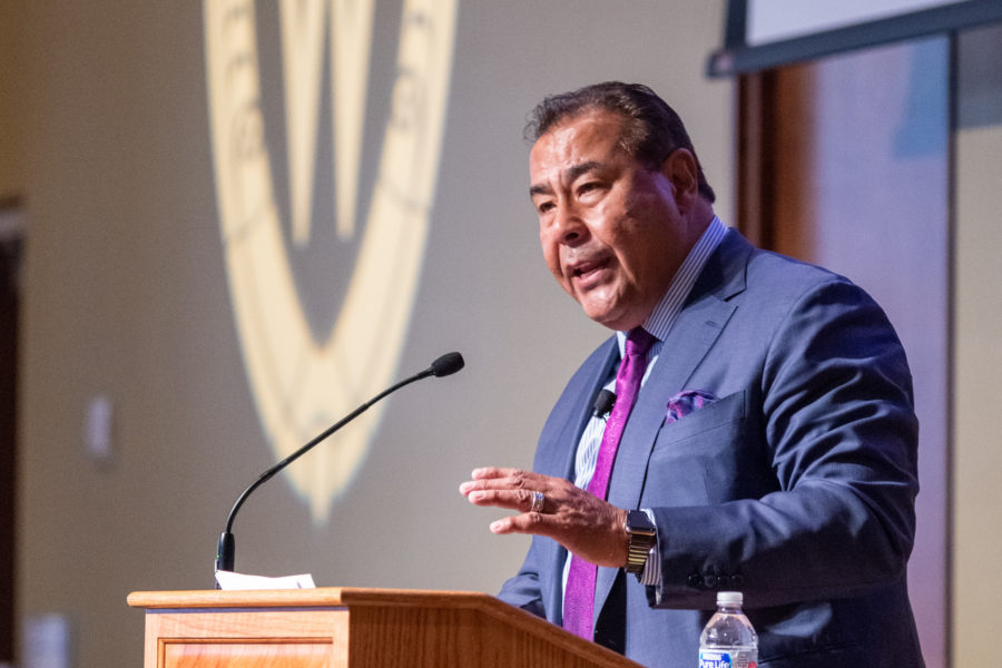 John Quiñones gives a speech at a podium