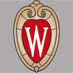 The UW–Madison crest against a grey background
