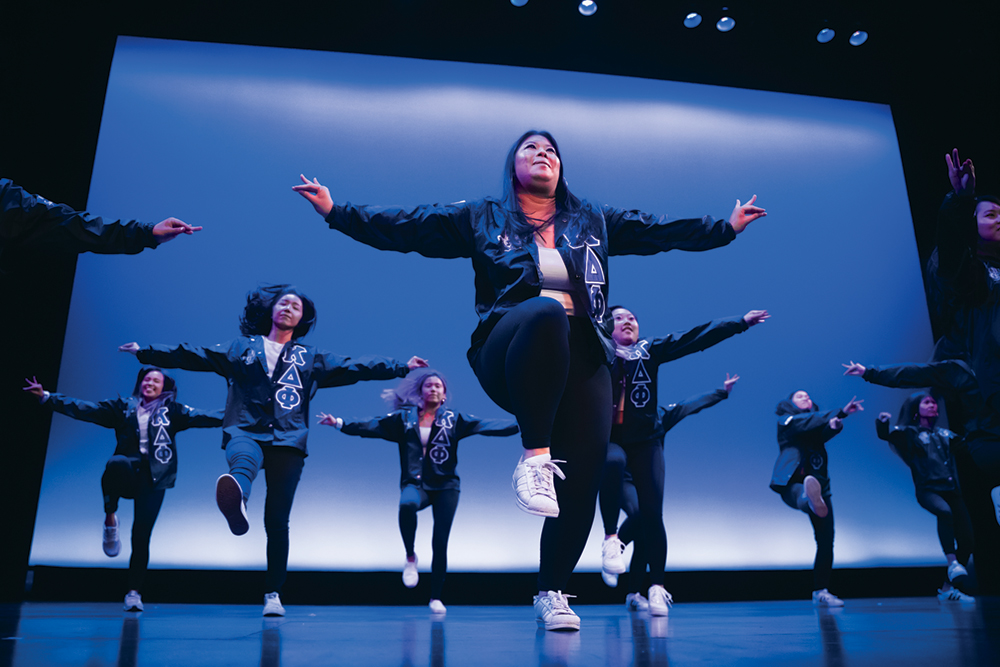 Members of the Alpha Kappa Delta Phi sorority performed at the annual Multicultural Orientation and Reception in 2019. DR. ROBERT SAN JUAN MS'01, PHD'06