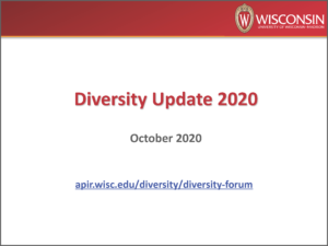"PowerPoint presentation cover image showing the UW crest and the words ""Diversity Update 2020, October 2020)"