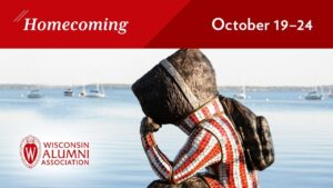 A statue of Buck Badger looking out over Lake Mendota is overlaid with graphics promoting the 2020 UW-Madison Homecoming from Oct. 19-24.