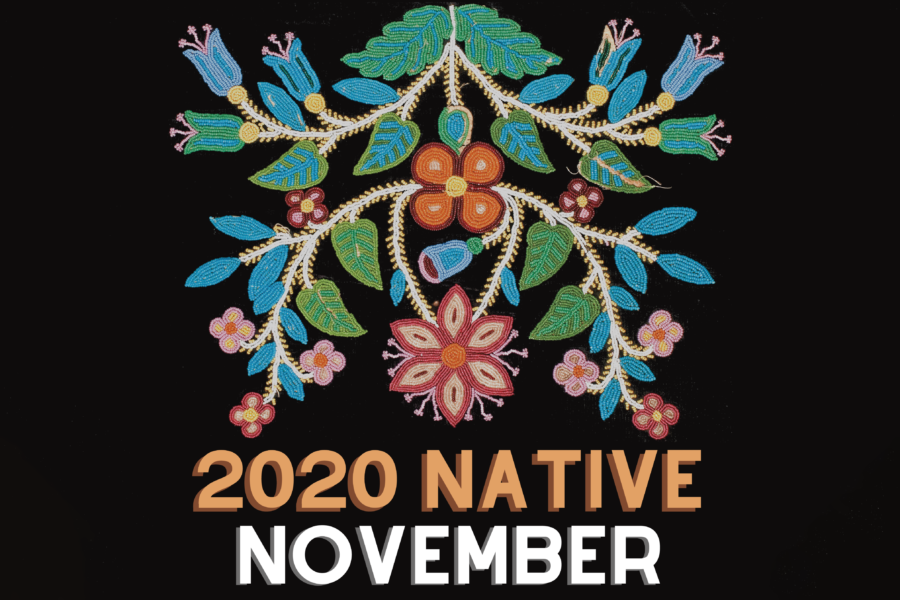 "Colorful beadwork of Indigenous American design set against a black background with the words ""2020 Native November"" below"