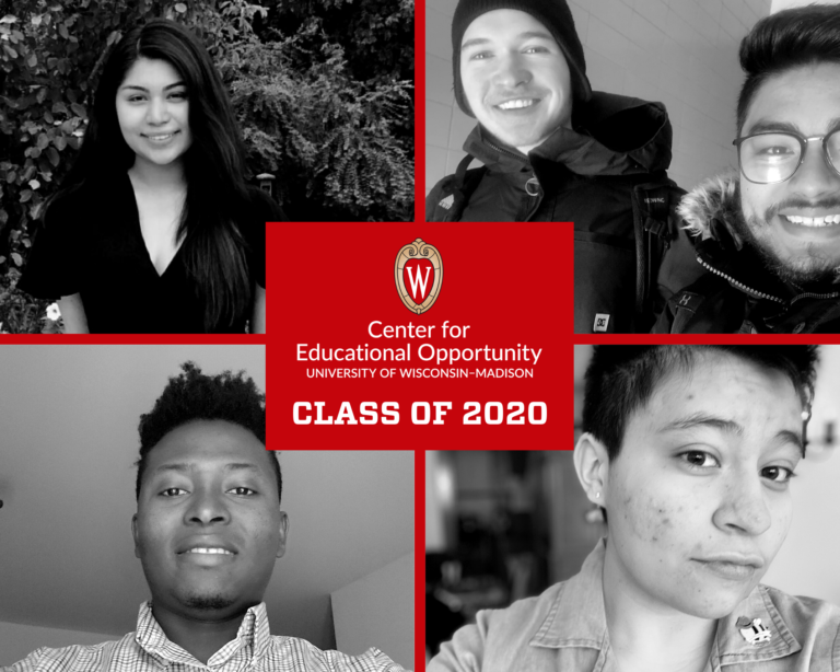 A graphic showing black and white photos of graduating scholars from the Center for Educational Opportunity program
