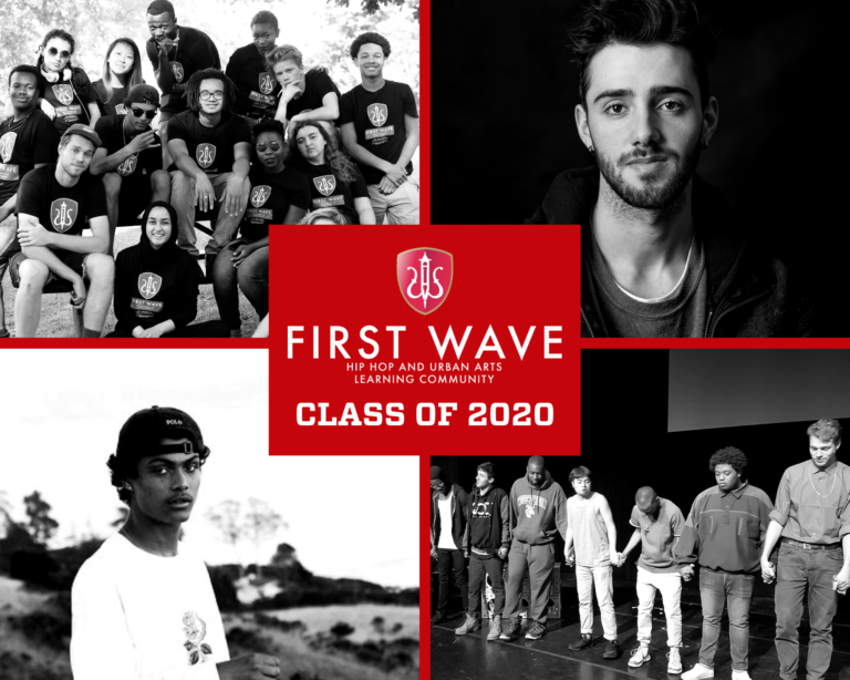 A graphic showing black and white photos of graduating scholars from the First Wave program