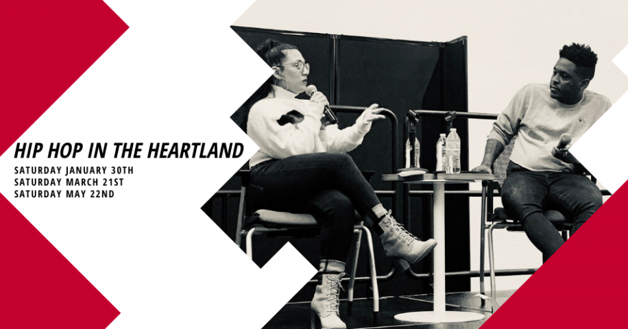 A graphic for Hip Hop in the Heartland showing two people sitting on high stools speaking into microphones