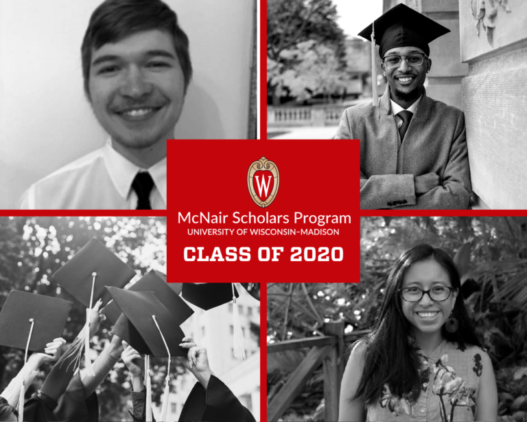 A graphic showing black and white photos of graduating scholars from the McNair Scholars program