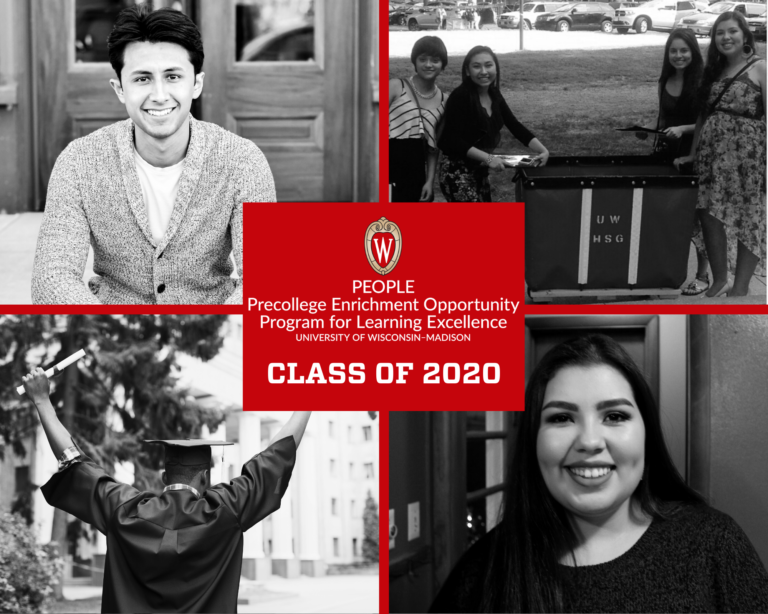 A graphic showing black and white photos of graduating scholars from the PEOPLE program