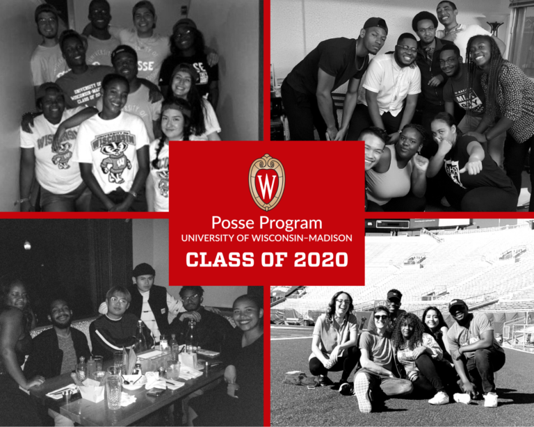 A graphic showing black and white photos of graduating scholars from the Posse program