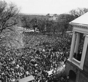 People gather by the thousands on Bascom Hill when Martin Luther King, Jr. was assassinated in 1968. UW Archives Photo